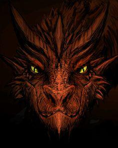 Orange Dragon Head<<<<< That's smaug, how do you not recognize him? Smaug Dragon, Dragon Face, Dragon Z, Fantasy Dragon, Fire Dragon, Mythological Creatures, Fantasy Creatures, Mythical Creatures, Dragon Artwork