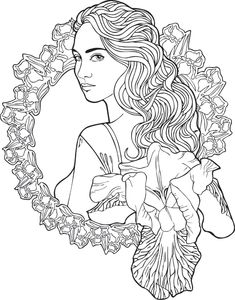 Girl with a camera coloring page Coloring Pages for Adults
