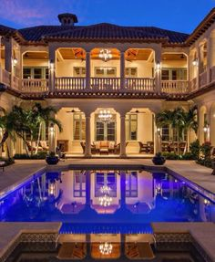 Luxury Mediterranean-Inspired Mansion Exterior Design with Courtyard Halls and Swimming Pool