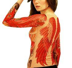 #bird #body #irezumi #Ladies #Phoenix #Red #Rose #shirt #sleeve #Tattoo #Wild #wings - Wild Rose Ladies Tattoo Shirt, PHOENIX Red Bird Wings Irezumi Tattoo Sleeve Body Sexy Tattoos, Girl Tattoos, Sleeve Tattoos, Tattoos For Guys, Tattoos For Women, Tattoo Shirts, Rose Girl, Irezumi Tattoos, Bird Wings