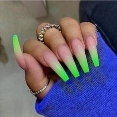 Neon green nails ✨ in 2019 nails, pretty nails, cute acry Neon Green Nails, Green Nail Art, Neon Yellow, Neon Acrylic Nails, Neon Nails, Coffin Acrylic Nails Long, Clear Acrylic, Glitter Nails, Neon Nail Designs