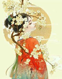 Japanese Artwork, Japanese Painting, Chinese Painting, Art Geisha, Geisha Kunst, Art Anime Fille, Anime Art Girl, Fantasy Kunst, Fantasy Art