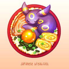 Umbreon's Japanese Breakfast Kawaii Drawings, Cute Drawings, Totoro, Pokemon Eevee Evolutions, Bulbasaur, Powerful Pokemon, Cute Pokemon Wallpaper, Pokemon Pictures, Cool Pokemon