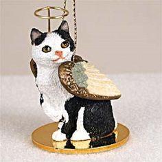 Manx Black & White Cat Angel Ornament