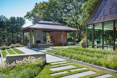 Out Is In: Striking Structures beyond the Main House Garden Structures, Outdoor Structures, Tudor Style Homes, Outdoor Spaces, Outdoor Decor, Screened In Porch, Maine House, Pool Houses, Facade