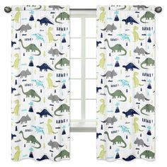 Blue & Green Mod Dino Curtains