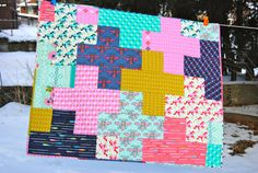 Modern Plus cot size quilt - Cotton and Steel Mustang fabric - toddler, baby, lap quilt