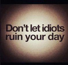Não deixe idiotas arruinarem seu dia.