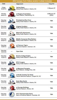Georgia Tech Yellow Jackets 2012 Football Schedule