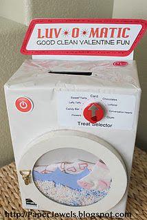 LUV* 0 *MATIC washing machine Valentine box http://paperjewels.blogspot.com/2012/01/more-valentine-boxes_24.html a bit drastic but creative lol