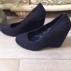 Black Suede Wedged Heel Worn a few times still in good condition! Call It Spring Shoes