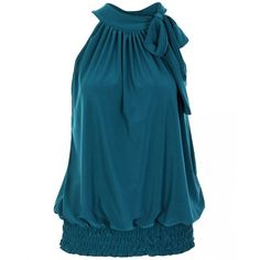 KRISP Teal Tie Up Halterneck Elastic Hem Top (€16) ❤ liked on Polyvore featuring tops, shirts, blouses, halter, tie neck halter top, shirt top, blue shirt, blue halter top and tie halter top