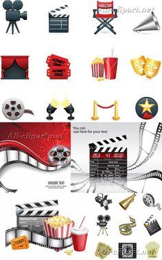 Кино и кинопленка в векторе | Cinema vector clipart