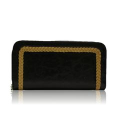 wallet with gold stitching