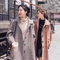 K-pop Fashion Knee Length Plaid Woolen Coat Pop Fashion, Wool Blend, Cardigans, Raincoat, That Look, Plaid, Kpop, Sleeves, Jackets