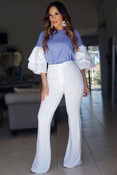 Celebrating a lifelong love affair with this Claire Navy White Stripes Ruffled Bell Sleeves Top, American-made MDS Stripes brings a fresh twist to the time Cute Office Outfits, Classy Outfits, Stylish Outfits, African Attire, African Wear, African Fashion, Look Fashion, Fashion Outfits, Fashion Trends