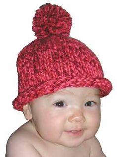 Easy Pom Pom Baby Hat Knitting Pattern for Beginners from SweaterBabe.com.#SweaterBabe.com #knitting