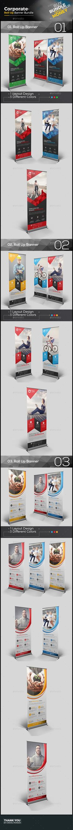 3 Roll Up Banner Bundle Template Vector EPS, AI Illustrator. Download here: http://graphicriver.net/item/roll-up-banner-bundle-3-in-1/16079416?ref=ksioks