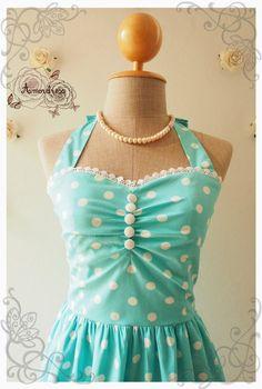 Bright Blue Dress Tea Dress Classic Polka Dot Dress by Amordress, $55.00