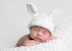 Newborn Hat, Bunny Hat ,  Baby Hat, Boy Bunny Hat,  Custom Knit Bunny Hat with Adorable White and Blue Bunny Ears Photography Prop