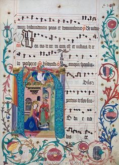 Illuminated letter H depicting The Nativity. Mainz, Germany, late 15th century
