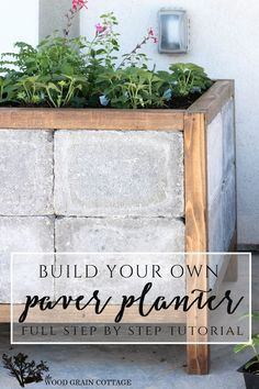 DIY Paver Planter Spring & Summer Gardening Patio Porch Project:: How to make a paver planter. Full tutorial by The Wood Grain Cottage Concrete Planters, Garden Planters, Tall Planters, Diy Garden Projects, Outdoor Projects, Backyard Patio, Backyard Landscaping, Cheap Patio Furniture, Furniture Ideas