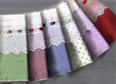 Pillowcases - checks and dots with wide lace with ribbon pull through.,