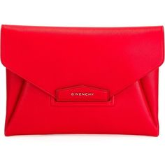 Givenchy Large Antigona Clutch (73.960 RUB) ❤ liked on Polyvore featuring bags, handbags, clutches, red, red purse, envelope clutch, givenchy, givenchy handbags and red clutches