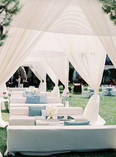 Pretty white and blue lounges for an outdoor event or cocktail hour