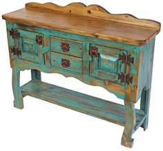 Small Green Patina Painted Wood Credenza or Buffet Painting Wooden Furniture, Diy Pallet Furniture, Recycled Furniture, Painting On Wood, Furniture Makeover, Ikea Furniture, Furniture Ideas, Furniture Removal, Furniture Online