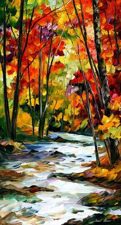 Autumn Forest Wall Art River Painting On Canvas By Leonid Afremov Swirling Stream. Size: 20 X 36 inches River Painting, Oil Painting On Canvas, Canvas Art, Knife Painting, Painting Tips, Painting Clouds, Painting Styles, Autumn Painting, Painting Flowers