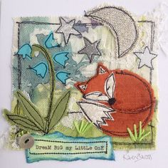 Day 30 – Tips and advice. Dreams can come true… - embroidery Fox Embroidery, Free Motion Embroidery, Machine Embroidery Applique, Applique Quilts, Wool Applique, Applique Cushions, Fabric Cards, Fabric Postcards, Art Textile