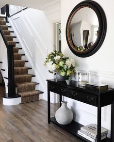 The moment when you realise your Interiors colour palette matches your Wardrobe colour palette. These hallways… Decor, Black And White Hallway, Cheap Home Decor, Staircase Design, House, Home Decor, Hallway Colours, Colorful Interiors, Hall Decor