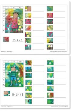 Discover thousands of images about Mompitziges Rechenpuzzle – Malreihe - - Math 2, Kindergarten Math, Learning Through Play, Learning Centers, Multiplication, Kids Education, Special Education, Printable Preschool Worksheets, Grande Section
