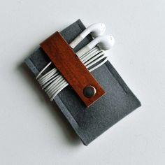 Ipod Nano Case Gunmetal Gray Wool Felt with Brown by byrdandbelle