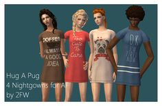 Here's four cute nightgowns from the discount store chain, Giant Tiger. Your sims can look cute on the cheap, and sleep well knowing that they didn't spend $30 on something they're not even awake to use. They're for AF sims only. Download here! Mesh included! Do you like what I do? Then I'd love if…
