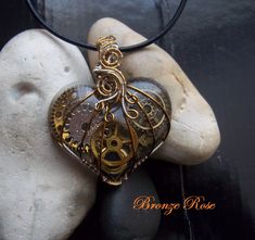 Your place to buy and sell all things handmade Resin Jewelry, Wire Wrapped Jewelry, Jewellery, Unique Necklaces, Handmade Necklaces, Steampunk Heart, Copper Wire, Leather Cord, Wire Wrapping