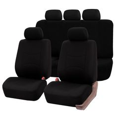 Deluxe Soft Fabric Black and White Piping Car Van Seat Covers Protectors 1+1