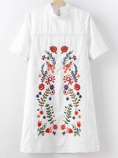 White Mock Neck Short Sleeve Keyhole Back Embroidery Dress -SheIn(abaday)