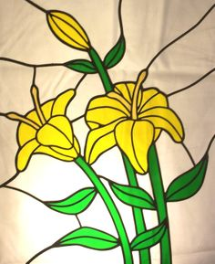 Stained Glass Yellow Lilies by MicahsGlass on Etsy, $400.00