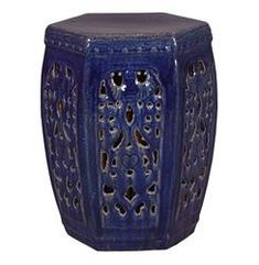 Hexagon Pierced Ceramic Garden Stool- Navy Blue Glaze |  Kathy Kuo Home https://www.kathykuohome.com/Product/ProductList/outdoor-end-tables $329