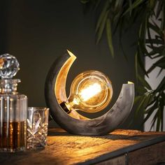 This industrial table lamp has a single light source and is made of metal and is finished in old silver. The light sources distributes the light in a beautiful way through the room, creating a great ambiance. Industrial Table, Led Lampe, Beautiful Lights, Lampshades, Living Room Designs, Half, Home Decor, Room Stuff, Products