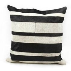 Shop for Mina Victory Natural Leather and Hide Stripe Black/Grey Throw Pillow…