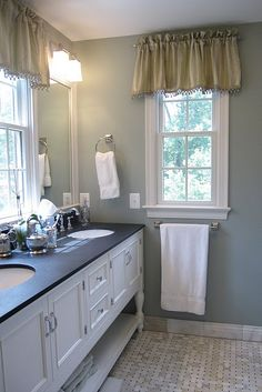 Pretty bathroom - love the paint color (SW Oyster Bay) and the vanity