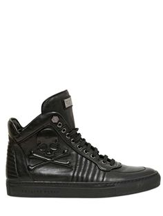 70f4bcd19426 Philipp Plein Embossed Skull Leather High Top Sneakers Supra Schuhe,  Männerschuhe, Verrückte Schuhe,