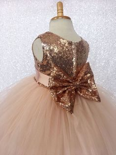 Rose Gold Sequin Bow Flower Girl Wedding Birthday Pageant Graduation Recital Bridesmaid Holiday Wedding size S M L XL 2 4 6 8 10 12 14 16 Gold Flower Girl Dresses, Flower Girls, Wedding Bridesmaids, Wedding Dresses, Easter Dress, Pageant, Baby Dress, Dress Making, Wedding Day