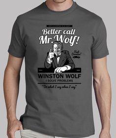 Camisetas de películas para hombres: Better call Mr. Wolf