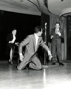 Judy Garland, Dean Martin, and Frank Sinatra on stage at The Sands in Las Vegas, C.1958