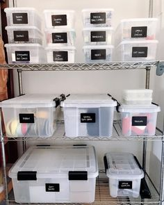 """RíOrganize on Instagram: """"STORAGE GOALS. This client runs her apparel business from home and needed garage space designated to her supplies! Ask and you shall…"""" Garage Storage Bins, Garage Storage Solutions, Diy Storage, Storage Containers, Diy Projects Garage, Garage Ideas, Metro Shelving, Pantry Labels, Bin Labels"""