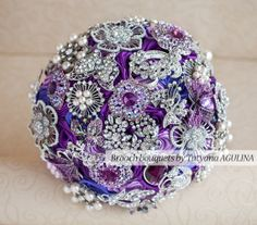 Brooch bouquet. Deposit on a Purple, Lilac and silver wedding brooch bouquet, Jeweled Bouquet.